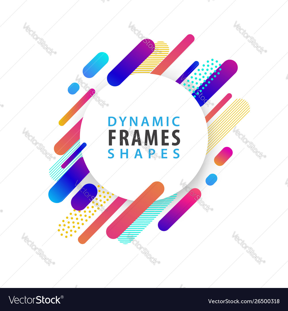 Abstract circle frames with dynamic shape template