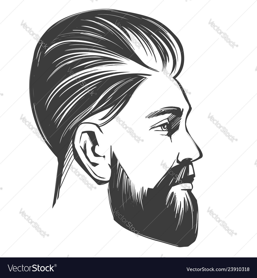 Bearded man in profile barbershop hairstyle