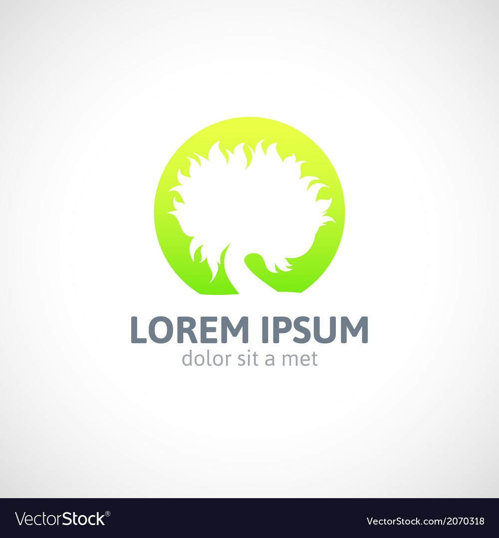 Eco green tree logo template abstract icon