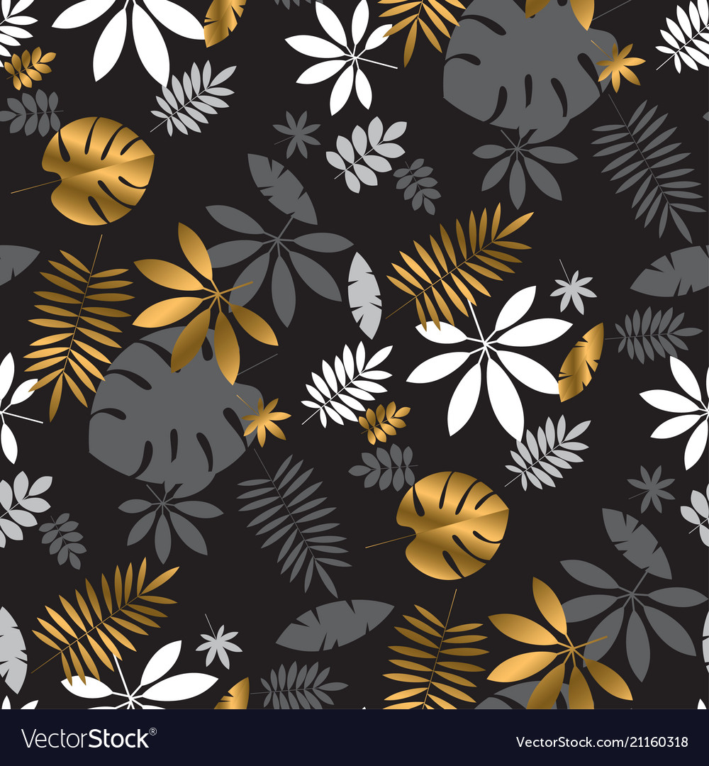 Gold and black vibrant tropical leaves pattern