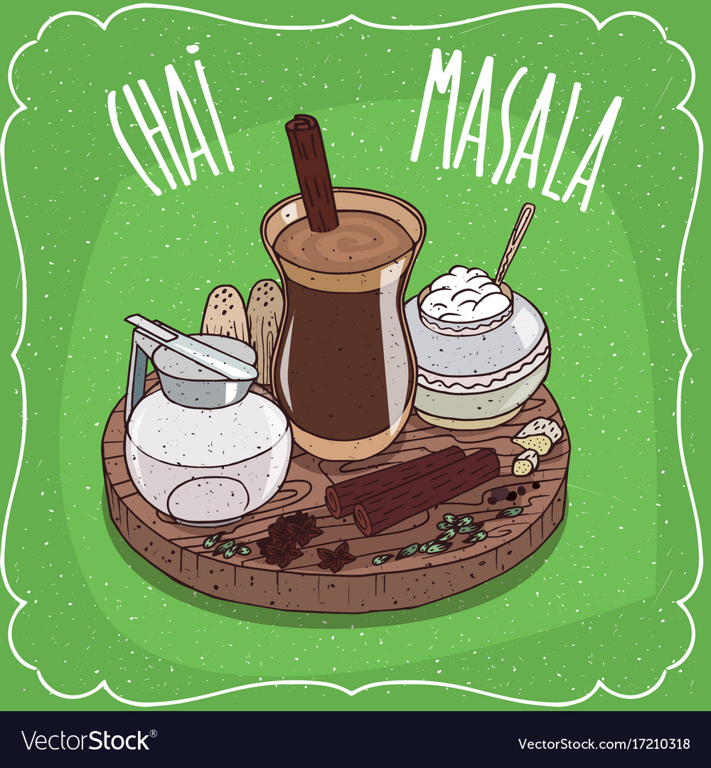 Indian tea masala chai with milk jug with lid