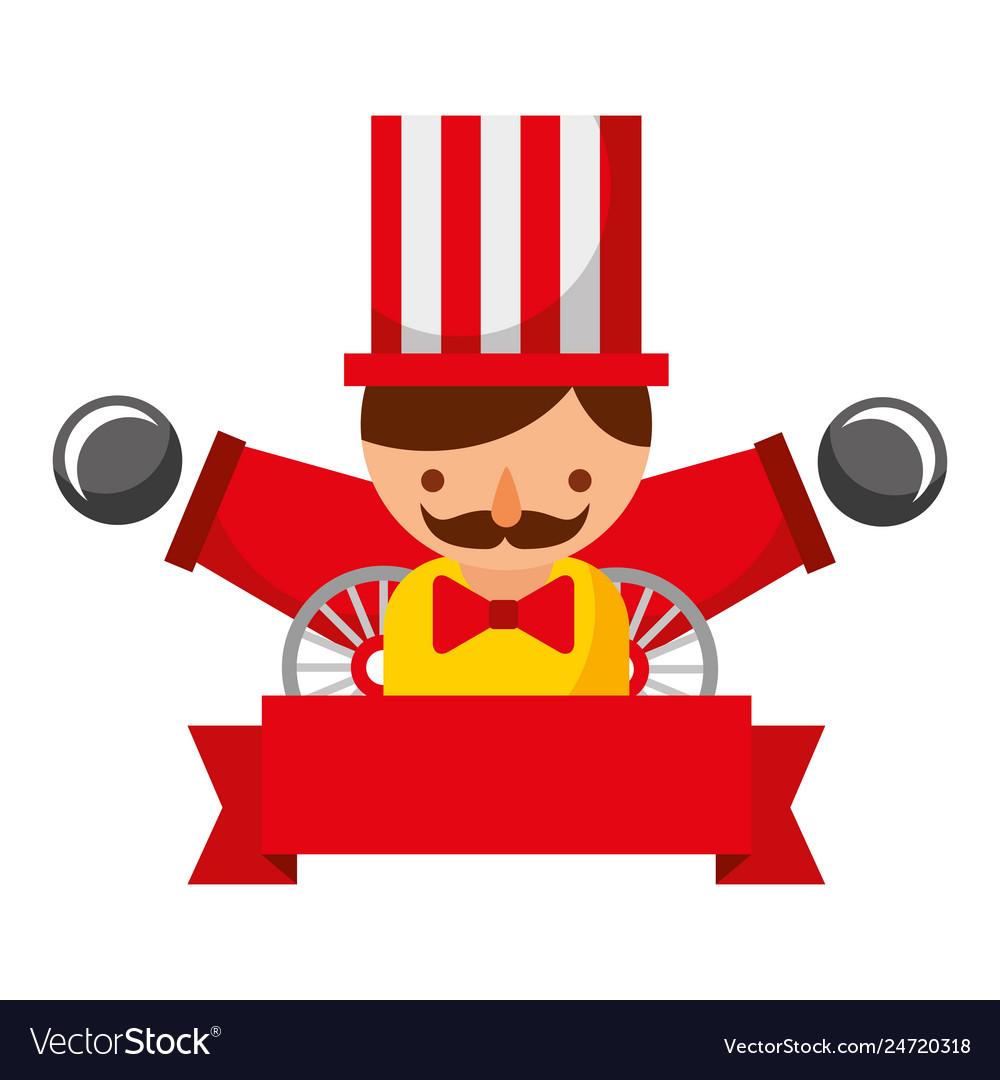 Man cannon ribbon carnival fun fair