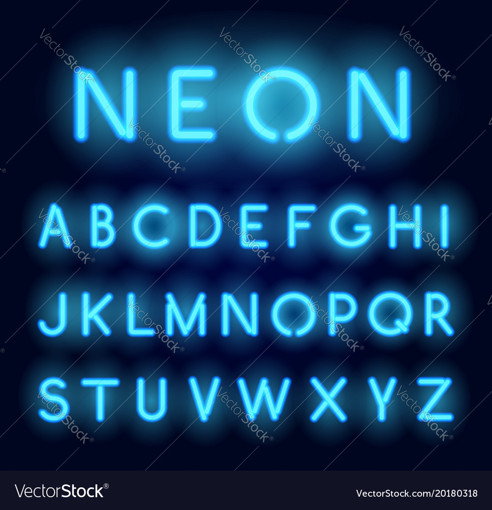 Neon alphabet realistic glowing letters