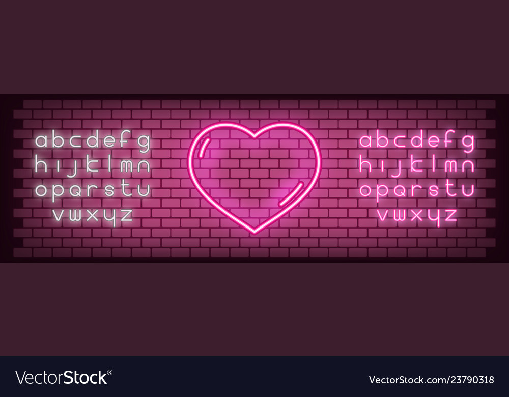 Neon glowing sign heart for valentines day