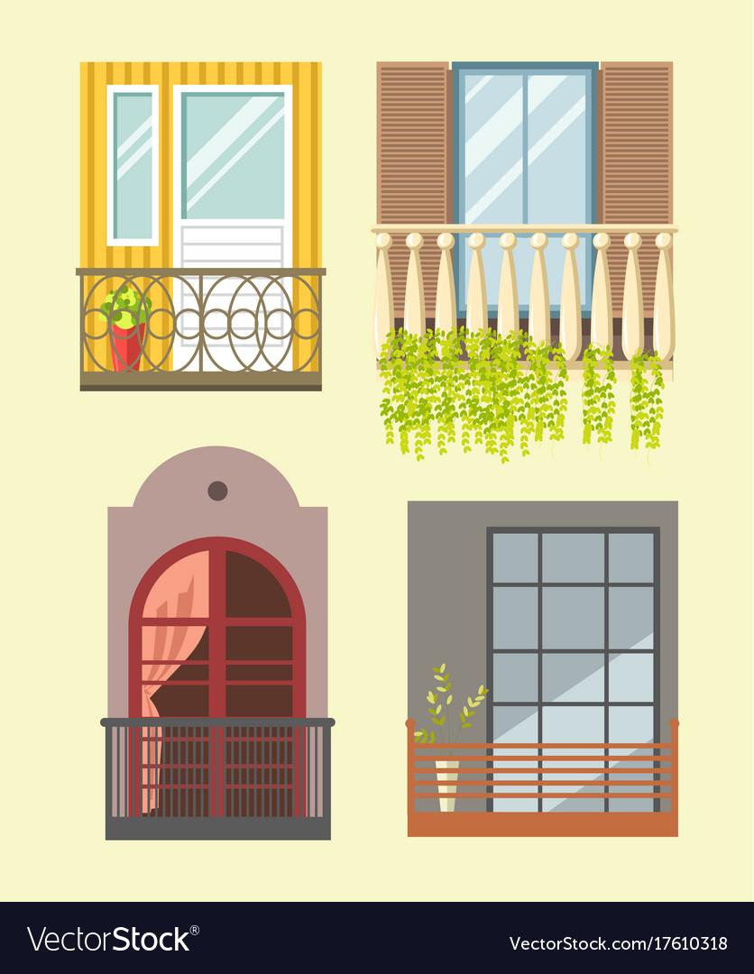 european style windows old european nice tall broad windows in european style vector image