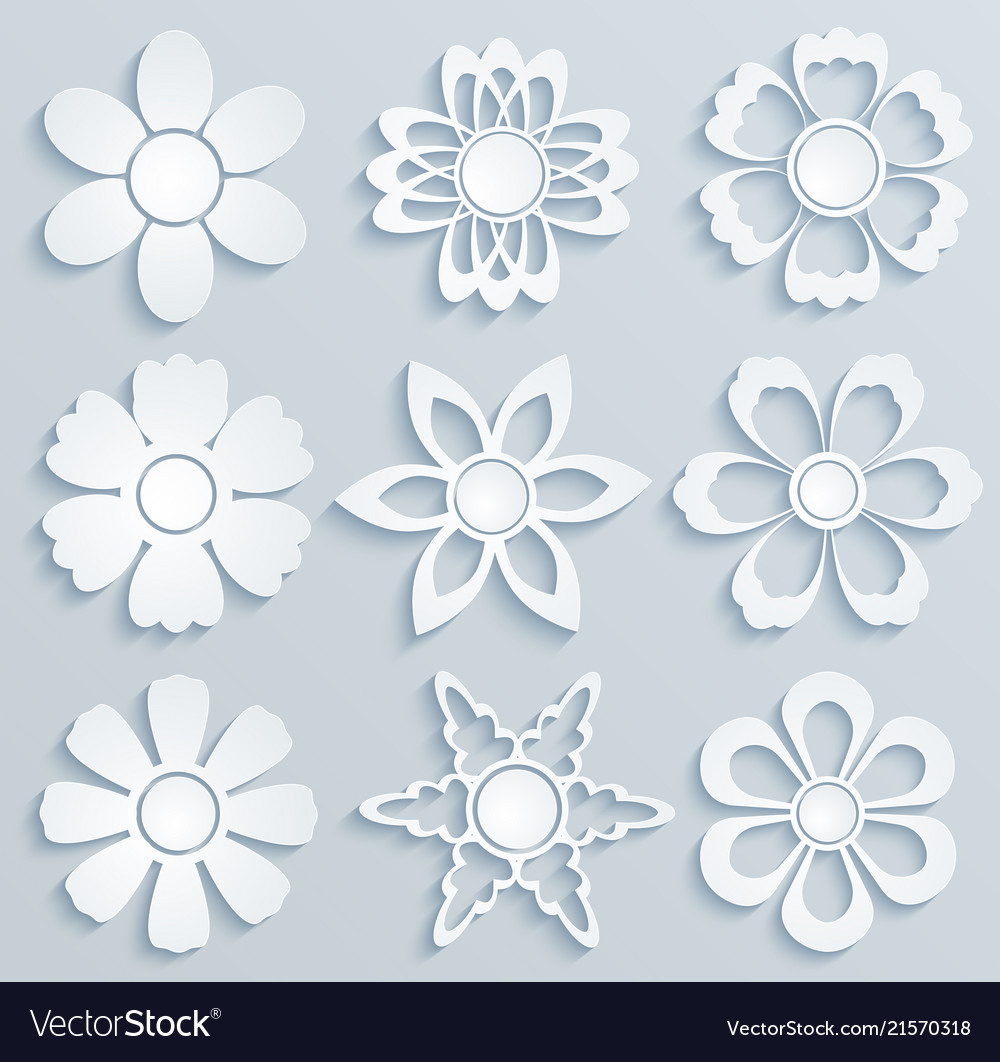 Paper flowers set of paper ornaments