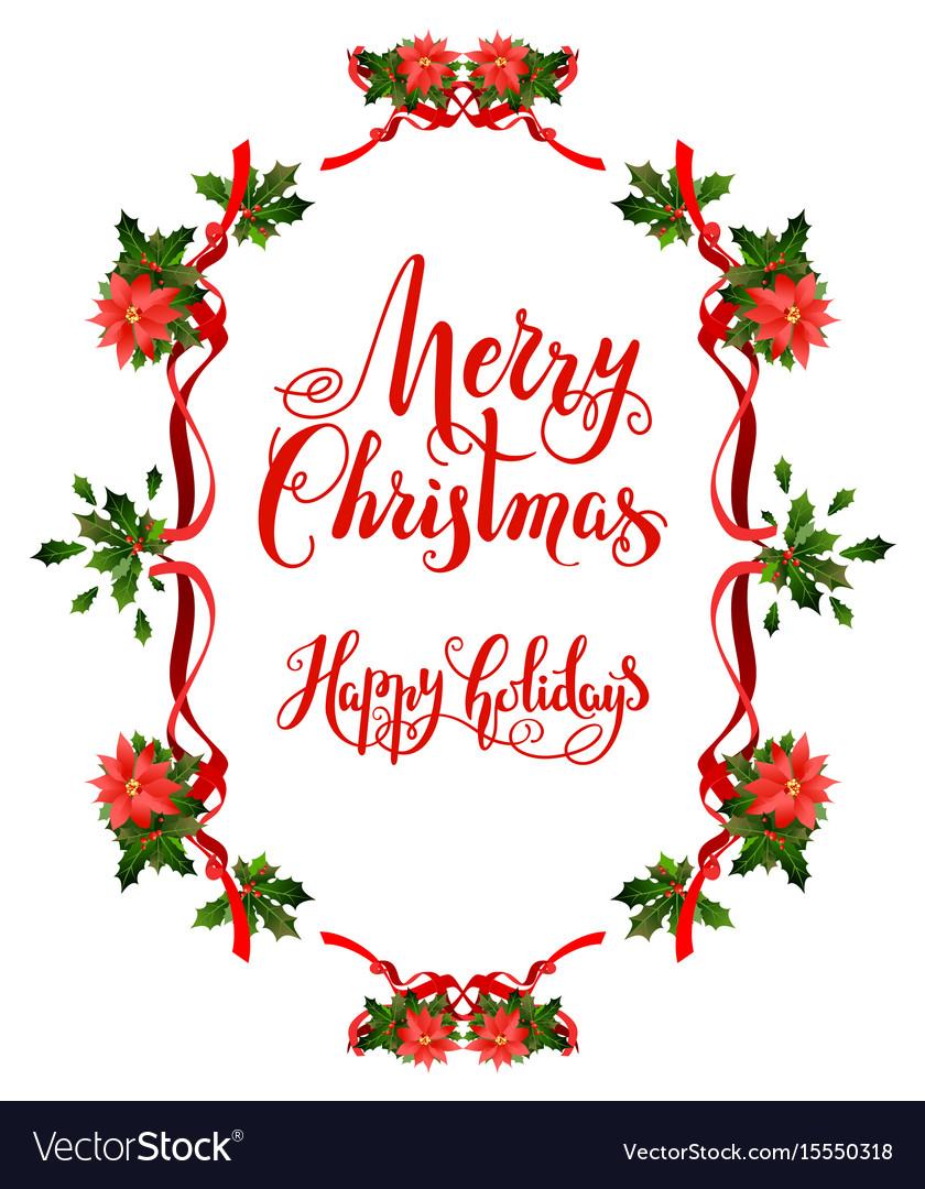 Poinsettia holiday frame vector image