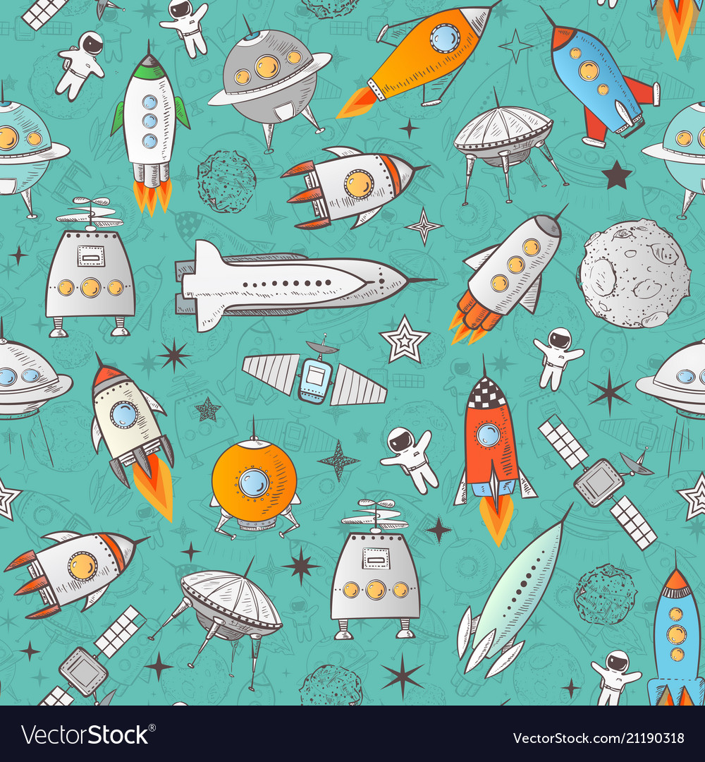 Seamless pattern with space rockets and other