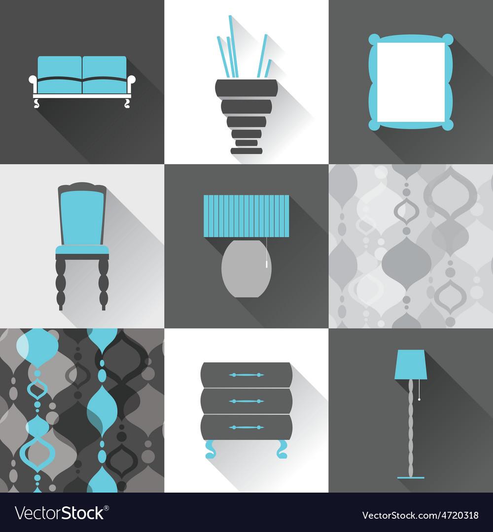 Set of flat furniture icons