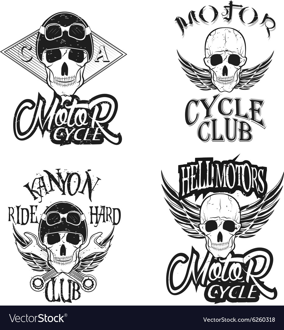 Set of vintage bikers logo