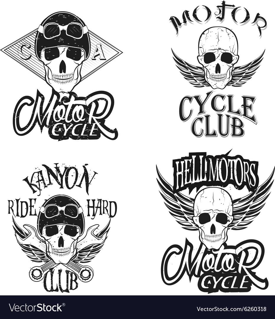 Set of vintage bikers logo vector image