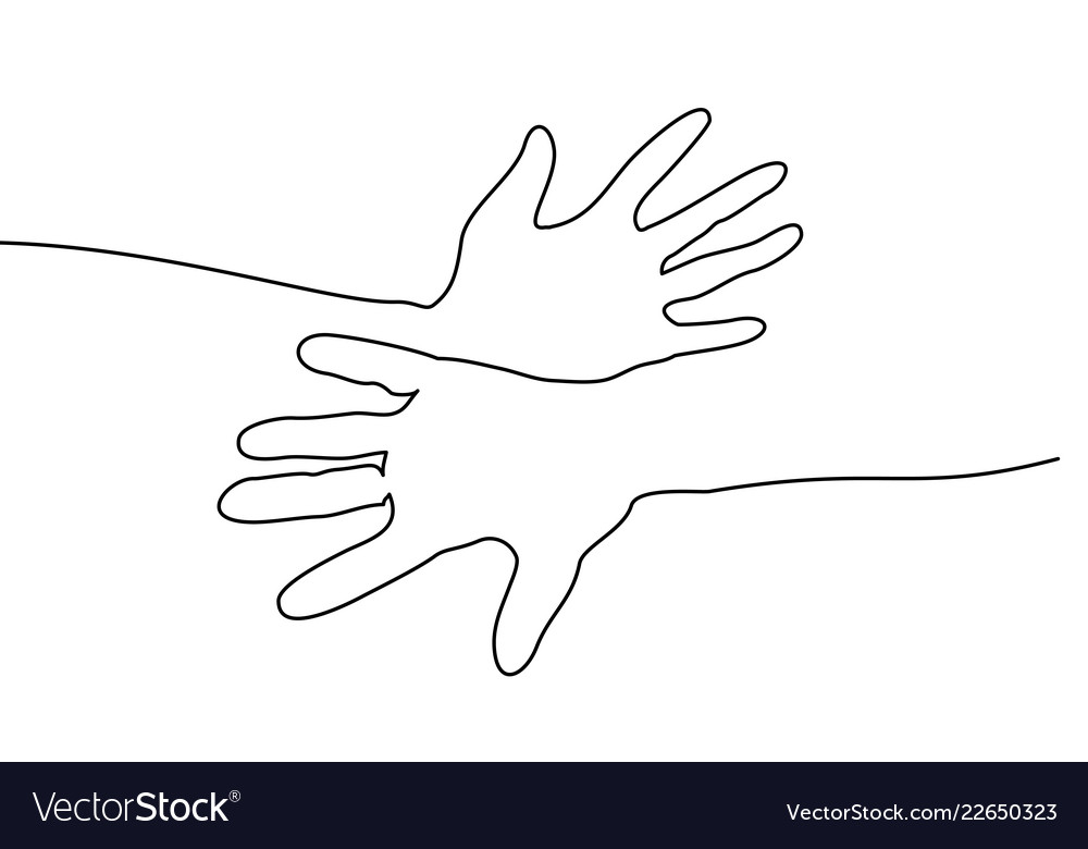 Abstract Hands Togehter Continuous One Line Draw