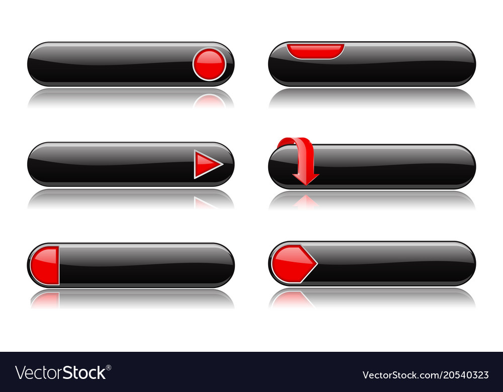 Black buttons with red signs menu interface vector image