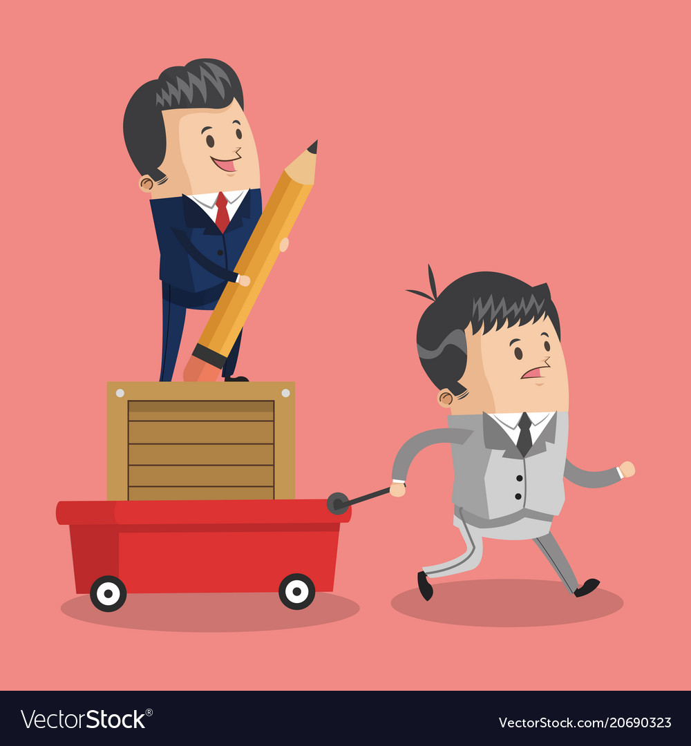 Businessman pulling cart with boss