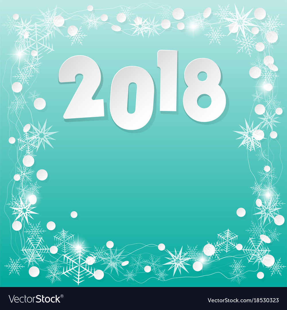 Happy new year 2018 background paper white design