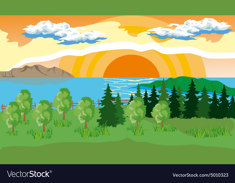 Landscape with Trees Lake and Sun