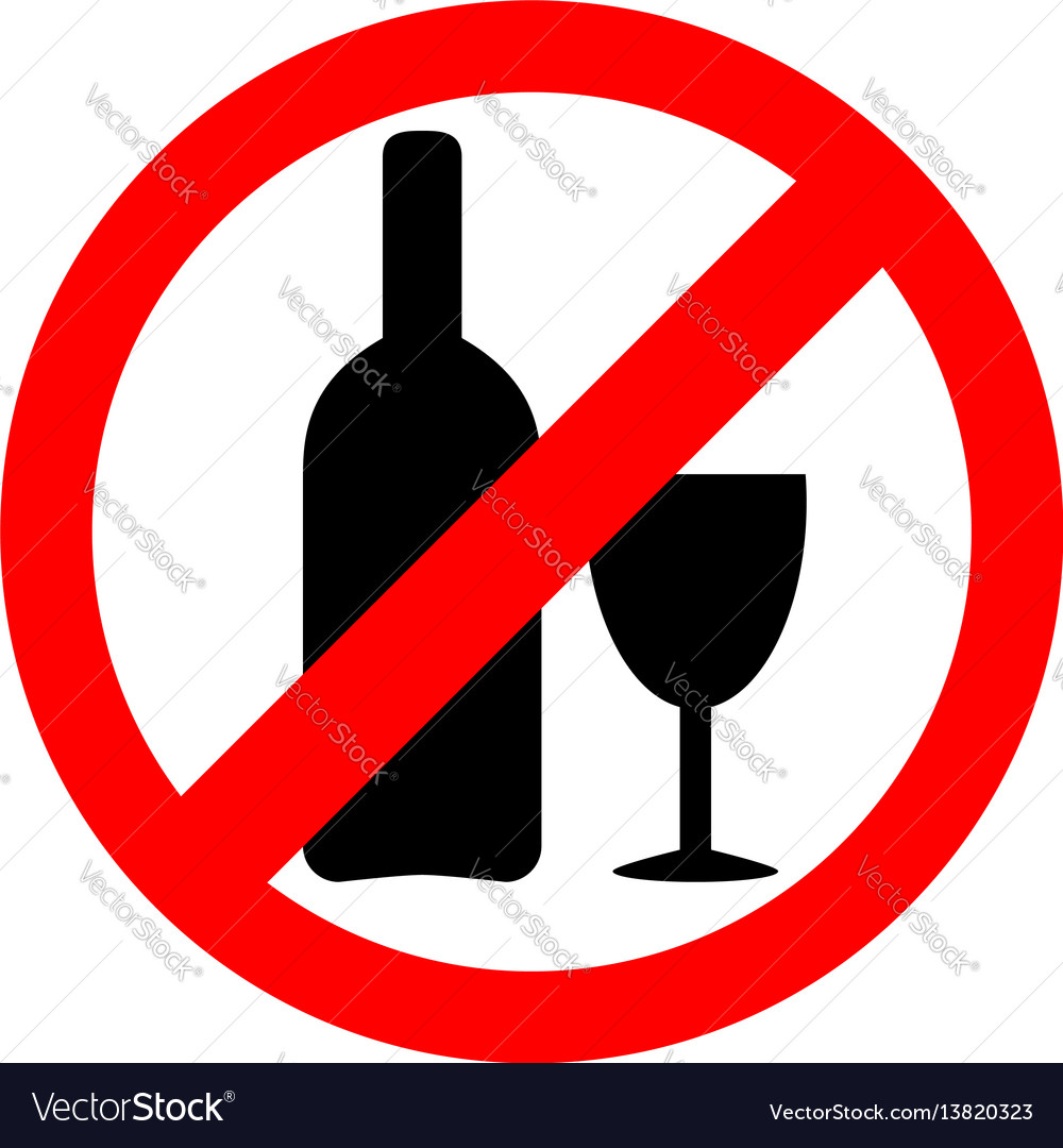 No alcohol sign drinking alcohol is forbidden icon