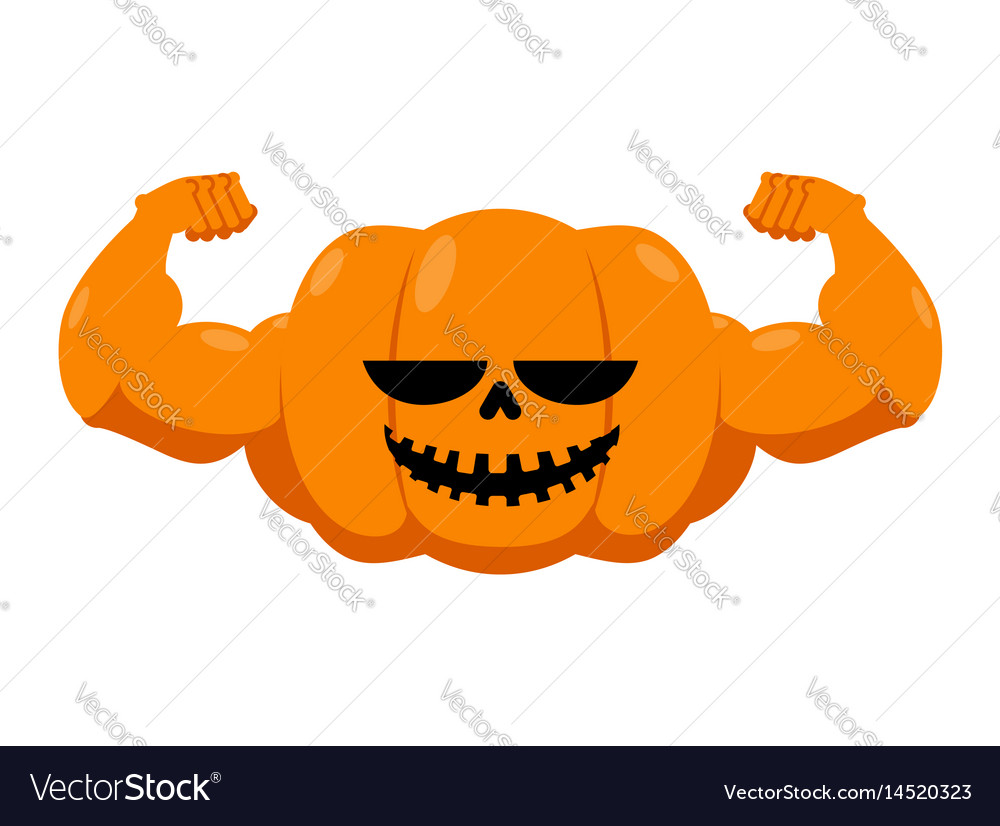 Pumpkin with muscles fitness halloween vegetable vector image