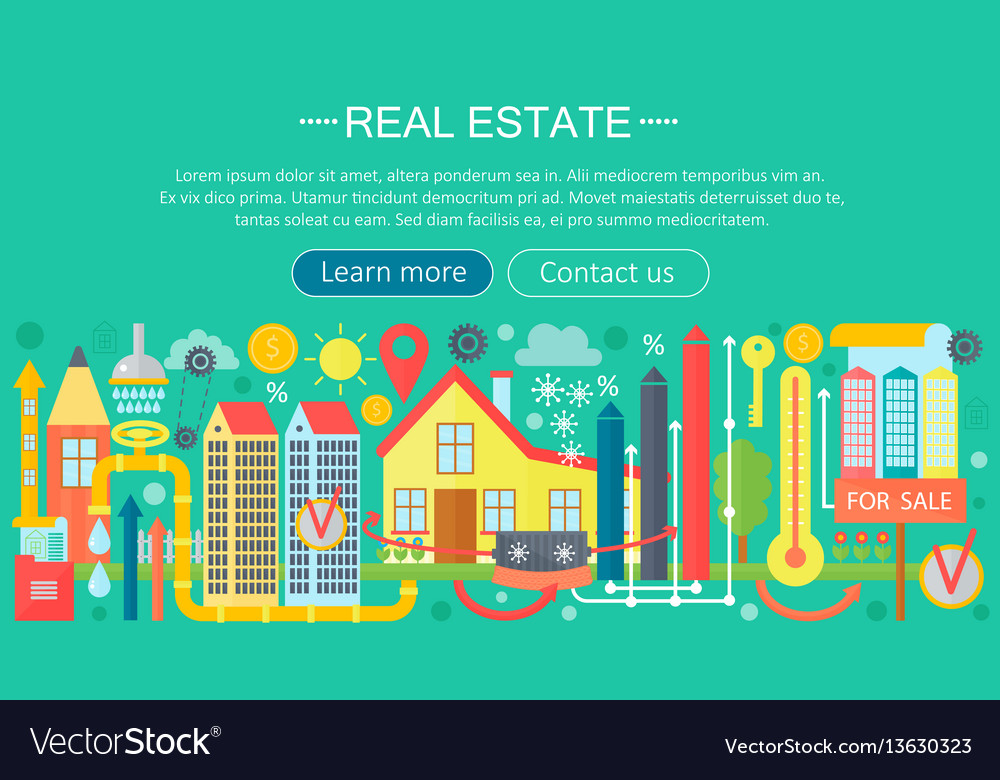 Real estate design concept set with online search vector image