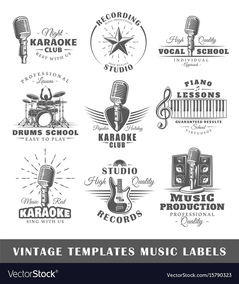 Set of vintage musical labels templates