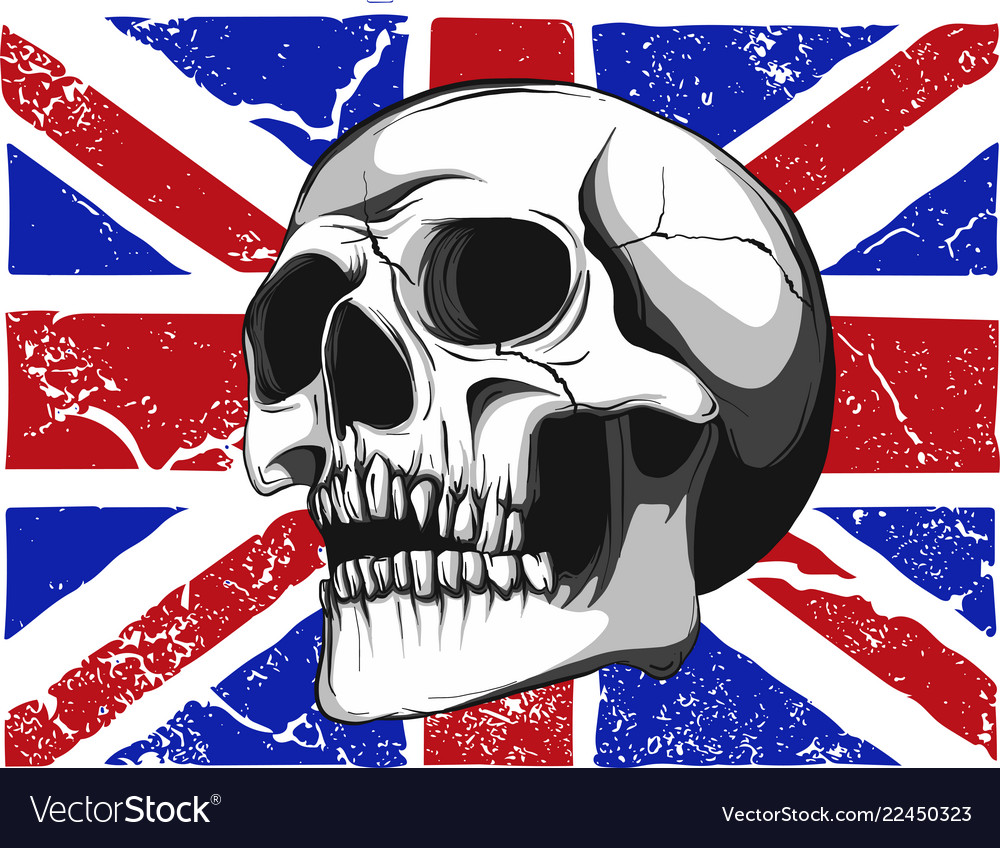 Skull with a england flag in background
