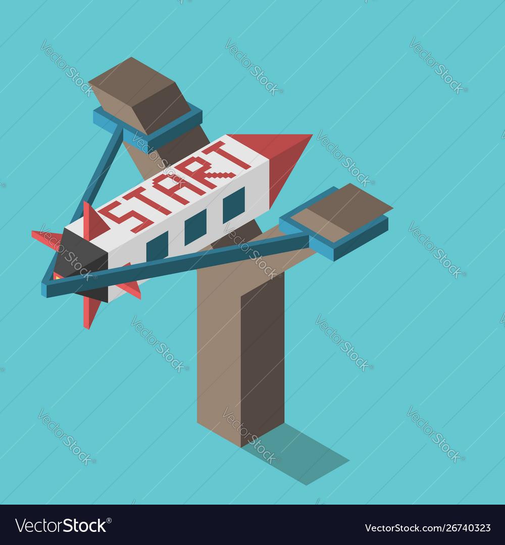Slingshot with space rocket