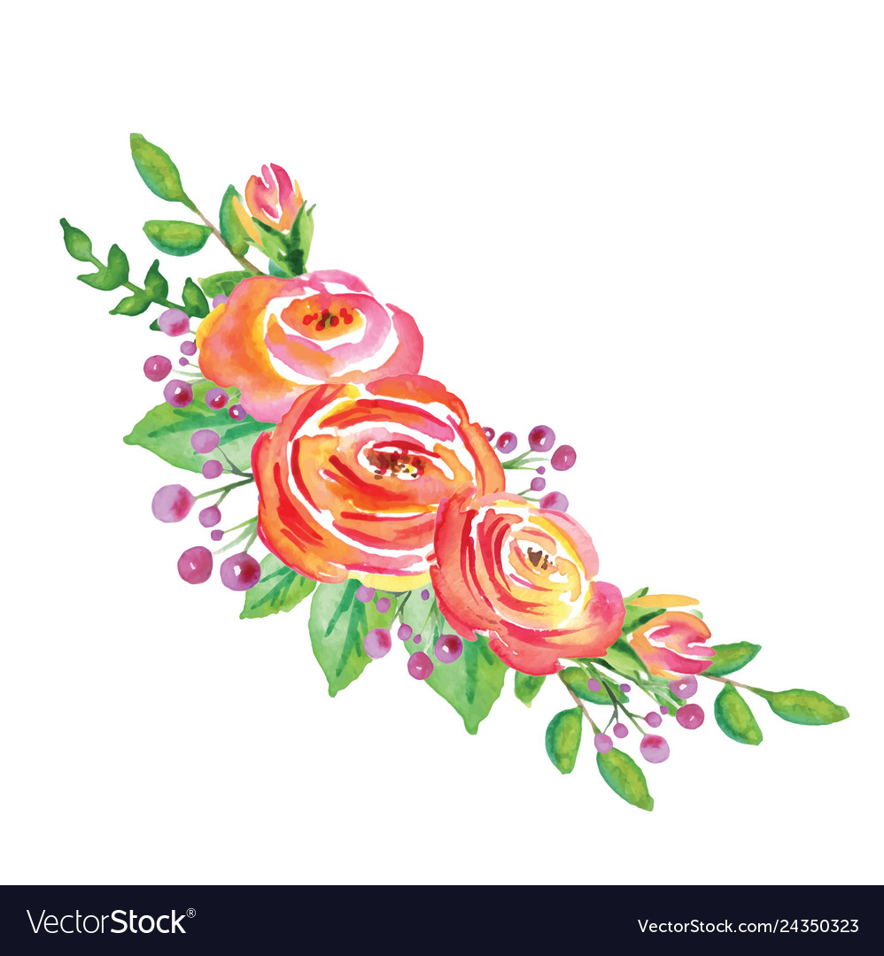 Watercolor flowers wreath on white background