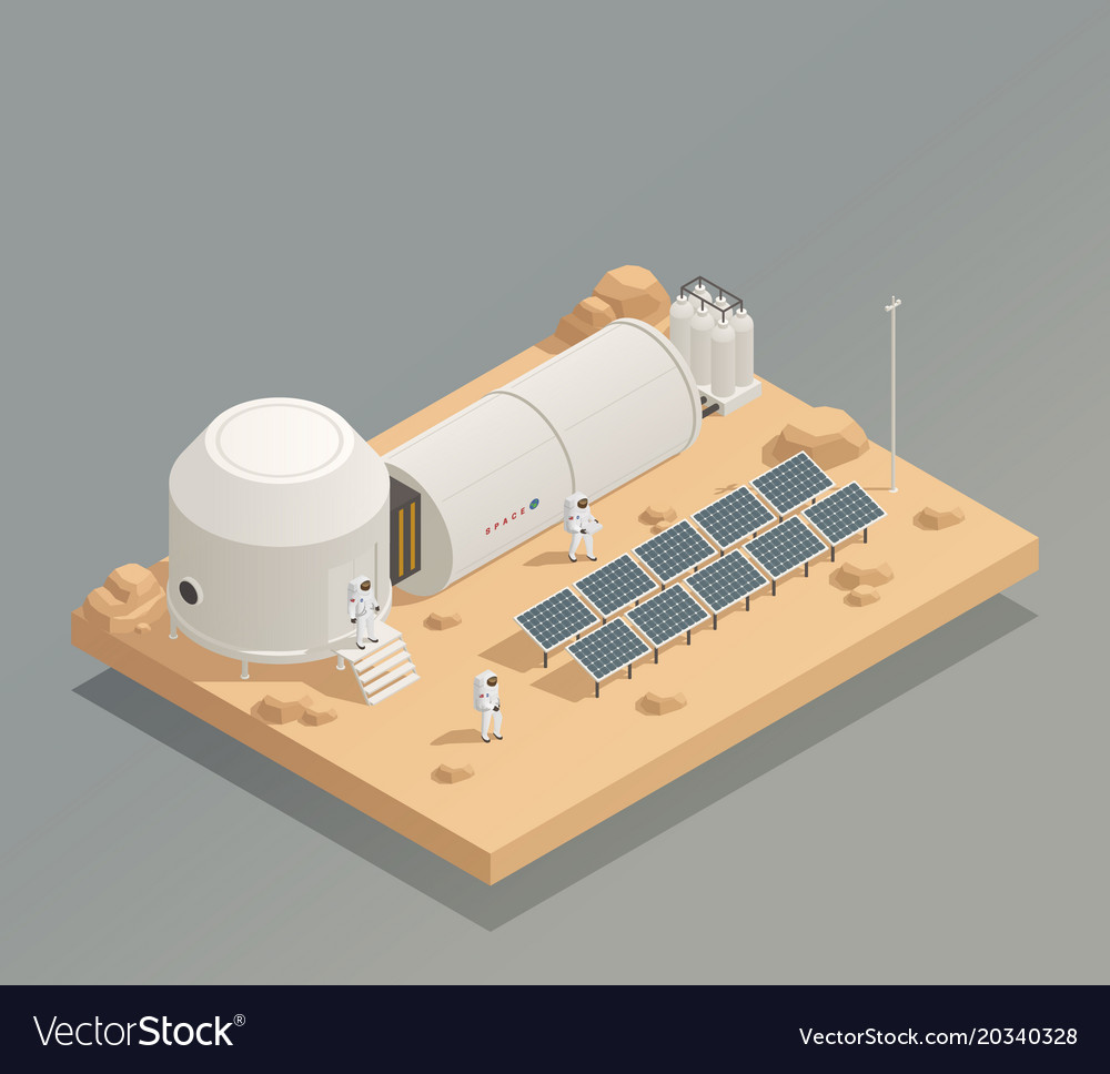 Astronauts sun panels isometric composition vector image