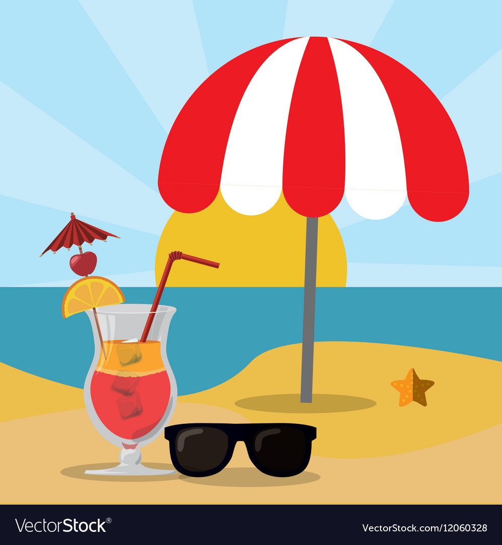 Beach sea sand glasses and cocktail summer vector image