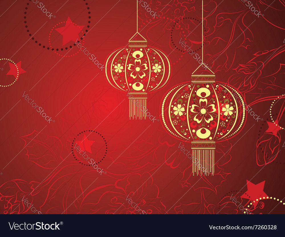 Chinese Lantern With Flowers Royalty Free Vector Image