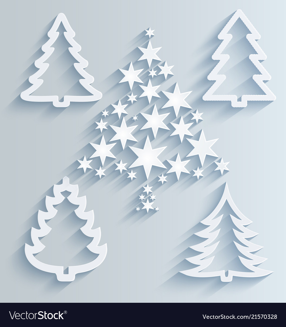 Christmas trees paper holiday decorations