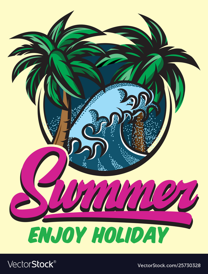 Color poster template for summer party with