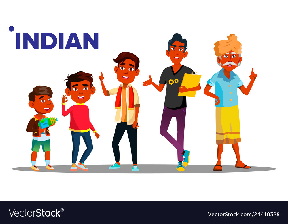 Indian generation male set people person