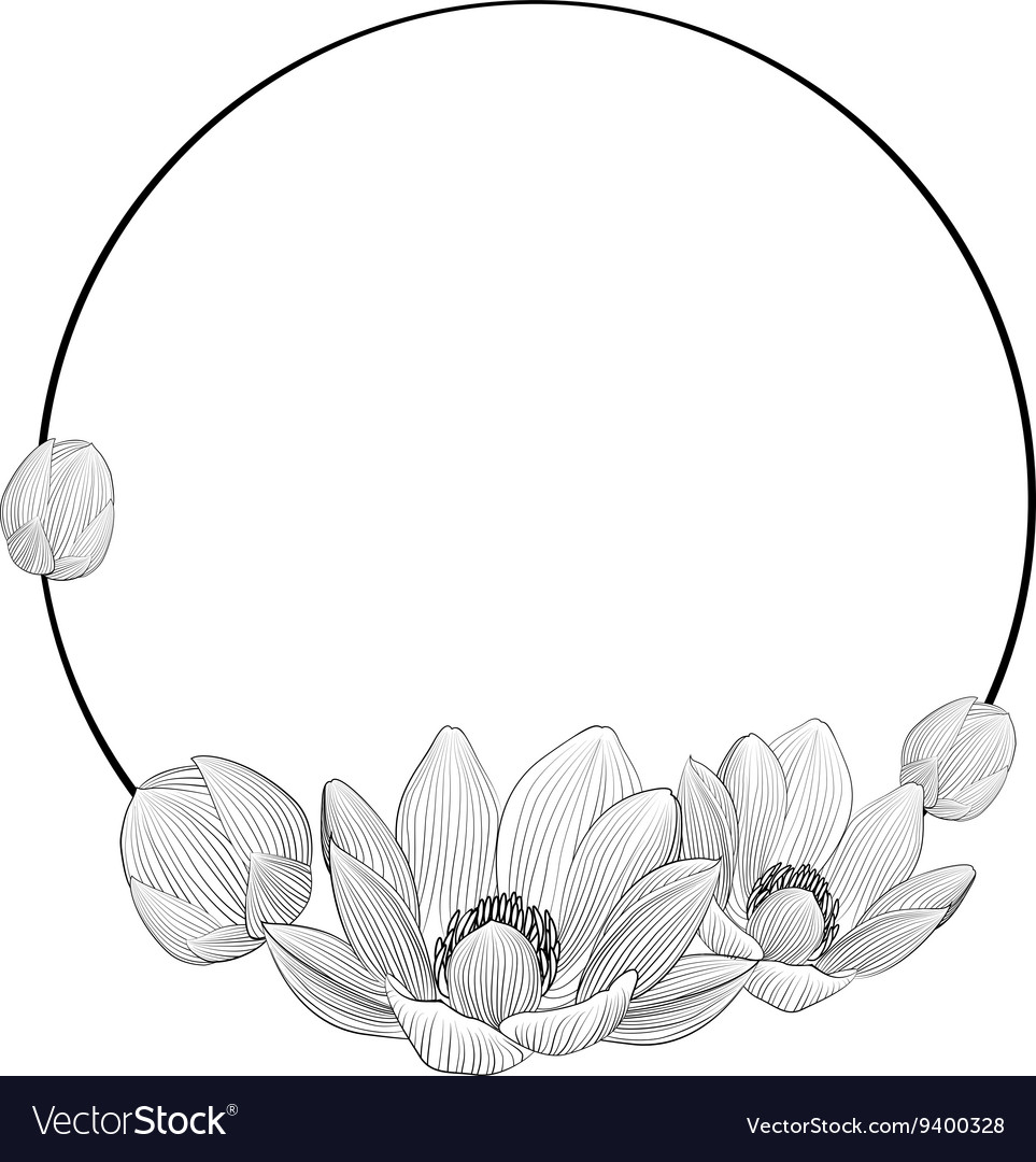 Line Art Lotus Flowers In Round Frame For Text Vector Image