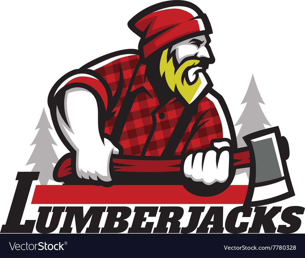 Lumberjack mascot holding the axe