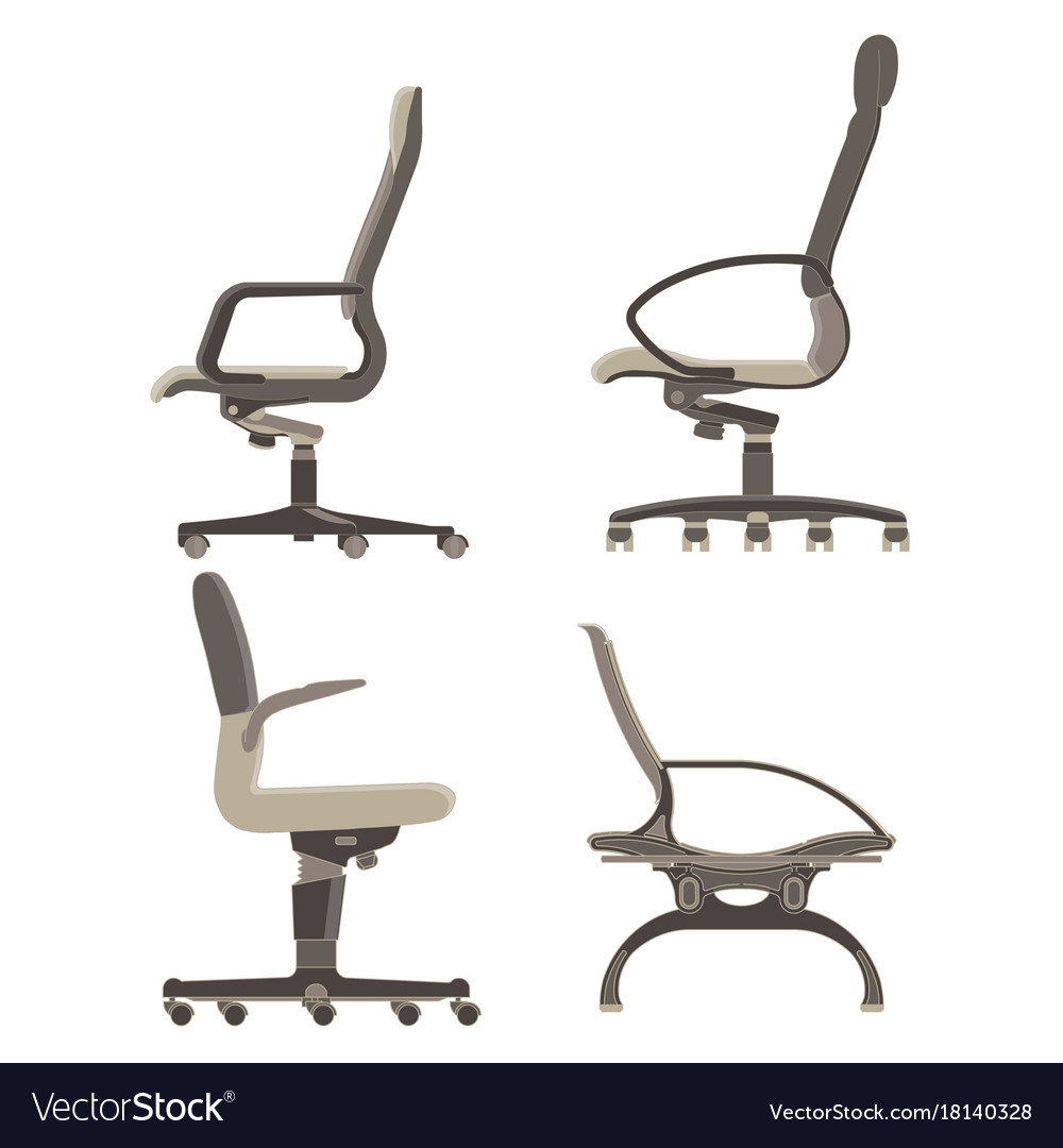 Office chair icon set business furniture isolated