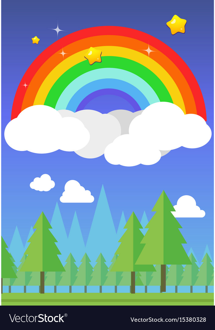 Rainbow on sky and forest background