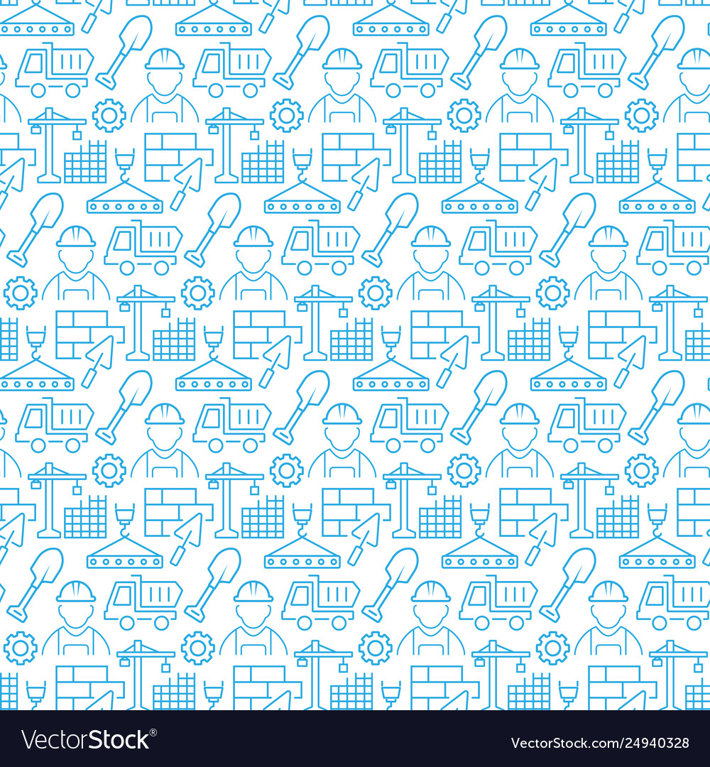 Seamless pattern with icons construction items
