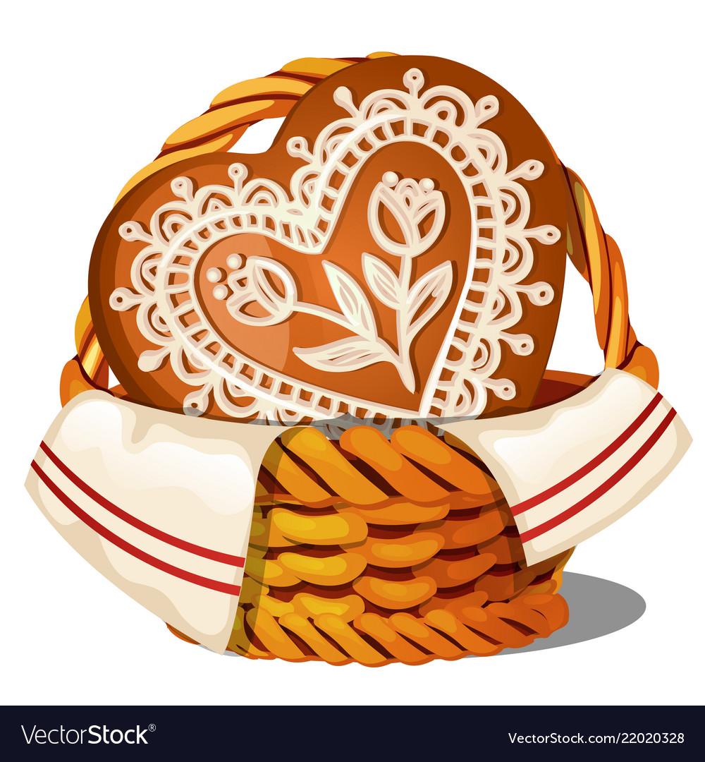 Sweet glazed gingerbread in a wicker basket