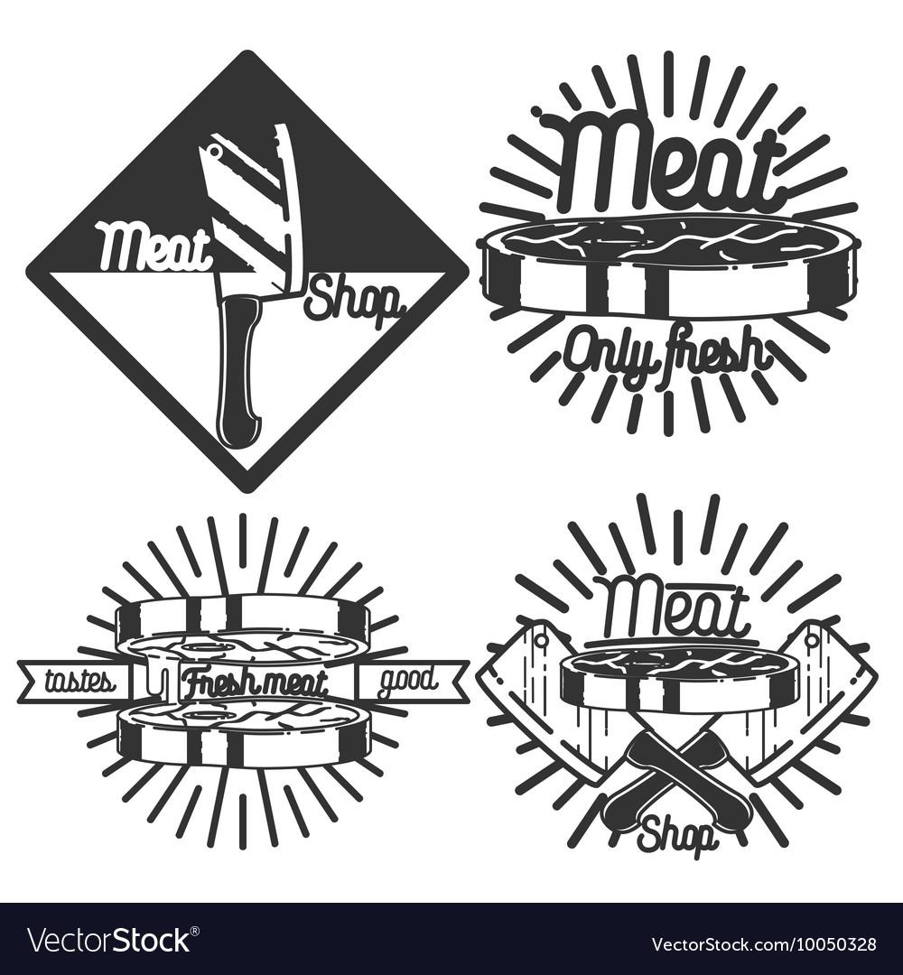 Vintage meat store emblems