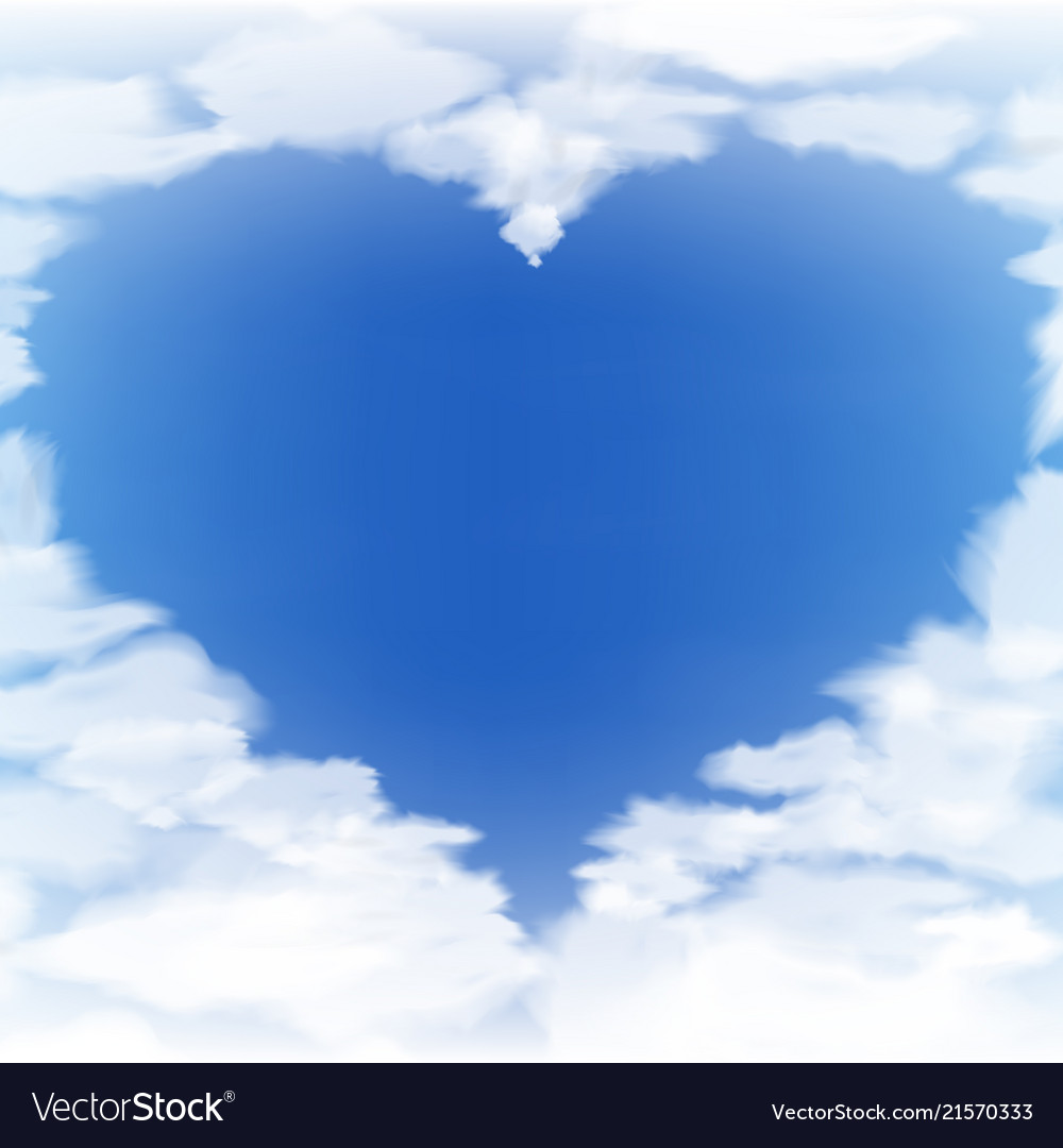 blue sky with clouds in the form of heart vector image