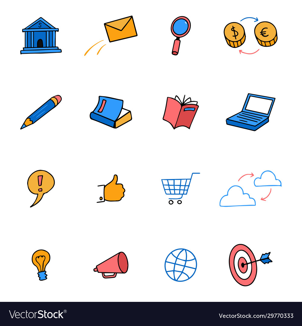 Cute colored doodle icons business marketing e