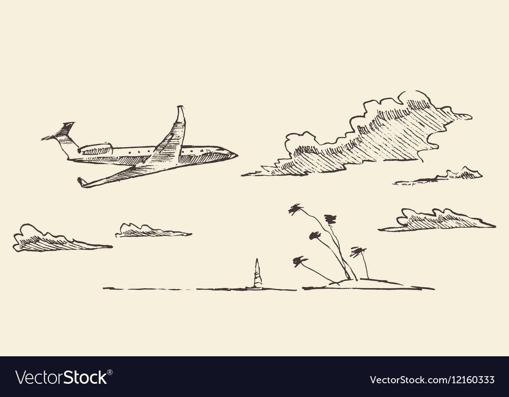 Drawn vacation airplane island sketch