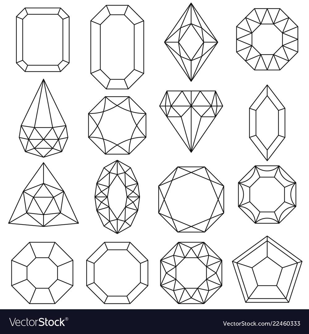 Jewels set gems and diamonds outline design vector