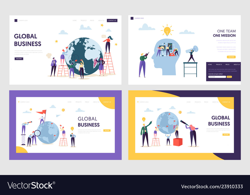 People character make global business landing page