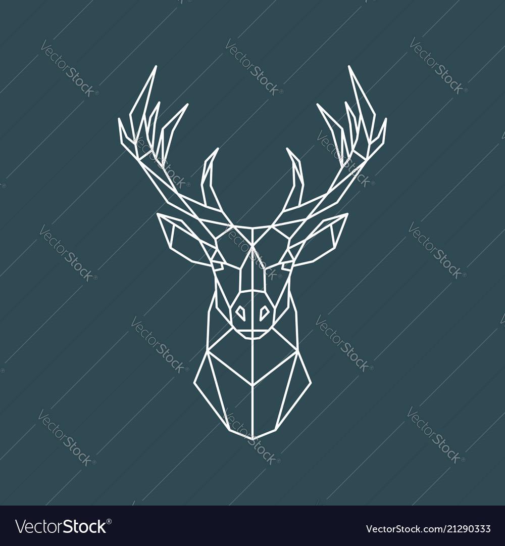 Polygonal deer portrait geometric animal