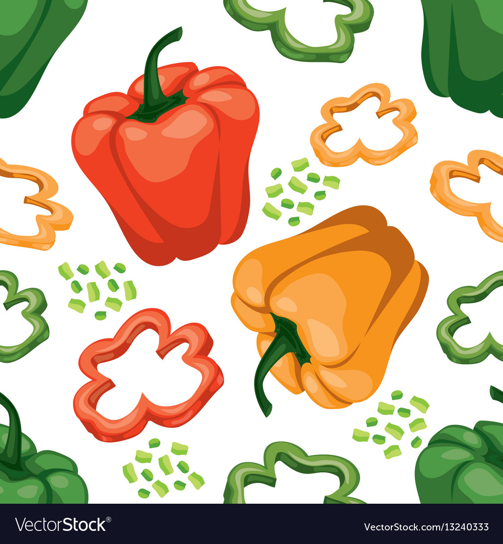 Seamless vegetable background with red green and