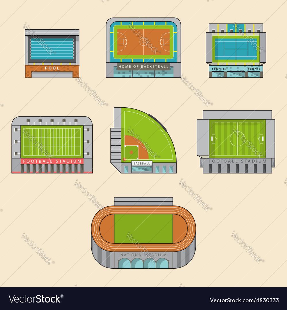 Set of sport stadiums building