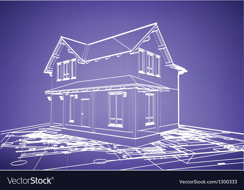 Wireframe building over blueprint royalty free vector image wireframe building over blueprint vector image malvernweather Image collections