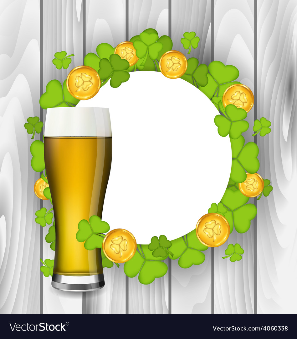 Celebration card with glass of light beer